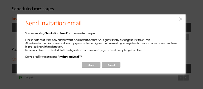 Do you really want to send Invitation Email?