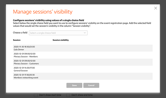 Pop-up - Manage Sessions Visibility