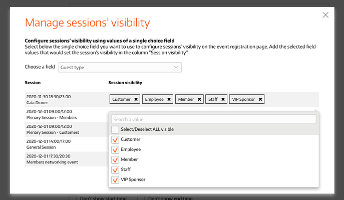 Select values for visibility of each session